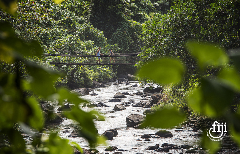 couple crossing on a suspension pedestrian bridge over rocky river in fijian forest