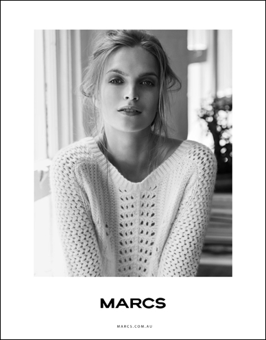 marcs blonde female model wearing knitted top