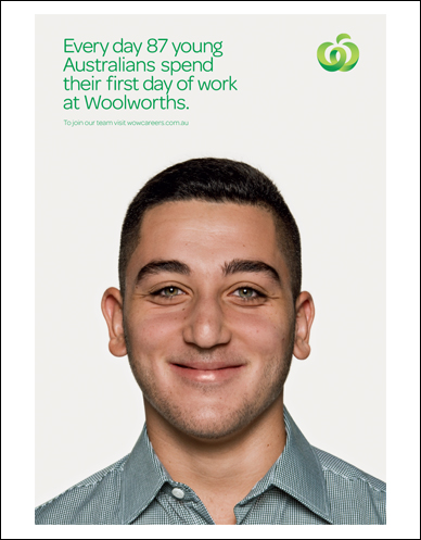 head shot of a young australian on their first day of work at woolworths